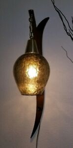 Mid Century Danish Style Sculptural Walnut Glass Hanging Pendant Wall Light Lamp