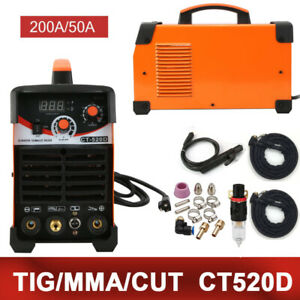 Plasma Cutter Ct520d 50a 200a Dc Inverter Tig Arc Mma 3 In 1 Welder 110 220v Us