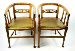 A Pair Of Antique Boxwood Inlaid Mahogany Tub Chairs Free Shipping Pl5049