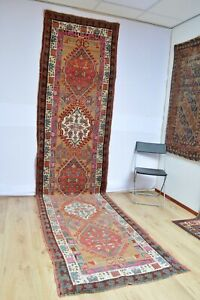 Stunning Antique Kurdish Long Rug With Rare Sarab Patern Kazak Serapi Kurd