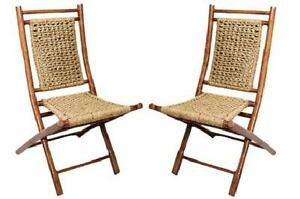 Set Of 2 Folding Chairs Bamboo Seagrass Weaved Seat And Back Foldable New