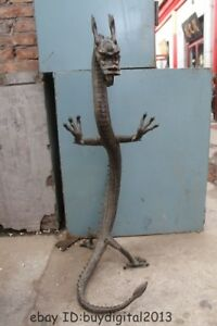 38 Huge Luckly Chinese Copper Bronze Sculpture Animal Foo Dragon Standing Statue