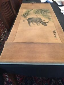 Japanese Hanging Scroll Sumie Hand Painted Boy On Top Of A Bull