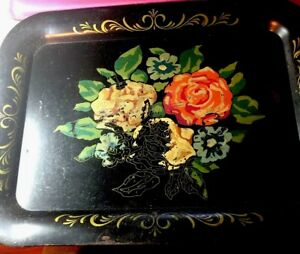 Vintage Black Toleware Tray Floral Design Painted Large Tray 13 X 18 Inches