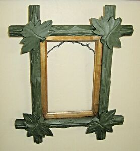 Antique Adirondack Wood Picture Frame With Gold Liner Green Paint Leaf Corners