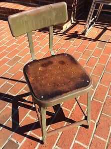 Vintage Industrial Green Metal Stool With Back Masonite Seat Very Good