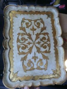 Large Florentine Italian Gold Gilt Wood Tray 12x16 Cream Gold