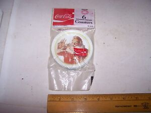 Six 1983 Ohio Art Metal COCA COLA Coasters Santa Claus Christmas