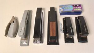 Vintage Lot Of 6 Desk Office Staplers Swingline Bates Ace Gray Black