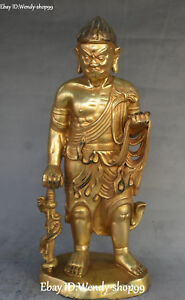 China Bronze Gilt Guardian God Stand Samurai General Soldier Dragon Knife Statue