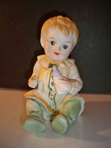Porcelain Piano Baby With Baby Bottle Hand Painted 7