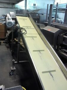 18 Inch X 128 Inch Incline Cleated Sanitary White Belt Conveyor Portable Nice
