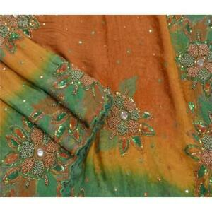Vintage Indian Saree Silk Blend Hand Beaded Woven Fabric Premium Cultural Ari