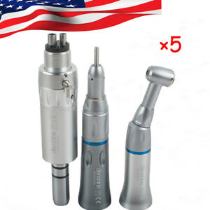 5pcs dental Slow Low Speed Handpiece 4h Push Contra Angle Air Motor E type usa