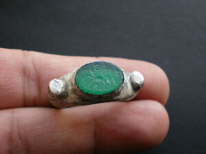 Rare Ancient Roman Greek Mythology Natural Gemstone Silver Ring