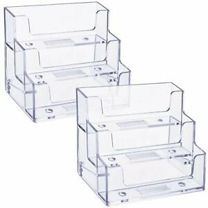 2 Pack Business Card Holder 3 Tiers Plastic Stand Organizer Clear Display For