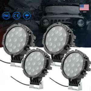 4x Off Road 7inch 51w Led Work Lights Spot Backup Pods Atv Tractor Red Marine