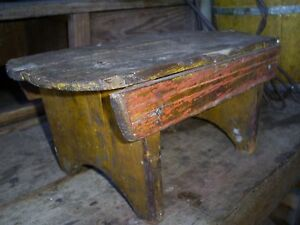 Antique Wood Cricket Bench Footstool Salmon Red Mustard Paint Primitive Aafa
