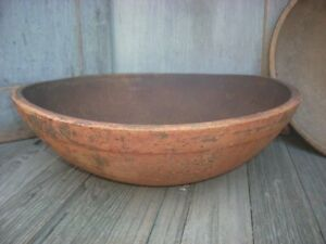 19th C Wood Dough Bowl Early Paint 17 Out Of Round Primitive Treenware Aafa