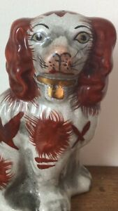Antique Mid 19thc Staffordshire Seated Russet Red White Spaniel Dog C1850s