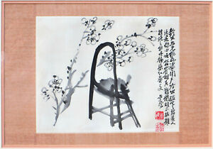 Chinese Ink Painting Of Plum Blossoms Chair