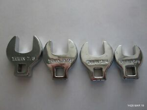 Lot Of Four 4 Chrome Sae Crow Foot Wrench Attachments