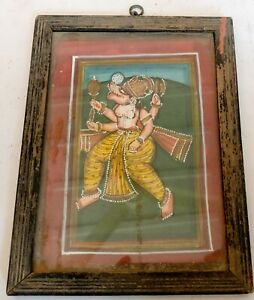 Antique Original Old Rare Indian Miniature Painting Hindu Deity God Framed