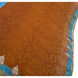 Tcw Vintage Saree Blend Georgette Hand Beaded Fabric Ethnic Premium Sari