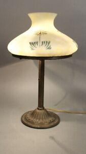 Antique Arts And Crafts Table Lamp With Signed Glass Shade Circa 1910 11751