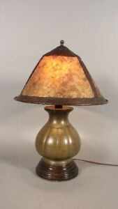 1910 Arts And Crafts Table Lamp With Bronze Japanese Base And Mica Shade 11771