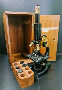 1915 Bausch Lomb Optical Microscope With Original Wooden Storage Case