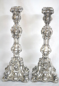 Antique Imperial Russian Jewish Silver Candlesticks Odessa Baroque