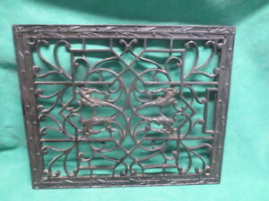 Vtg Antique Cast Iron Furnace Heating Floor Grate Gargoyles