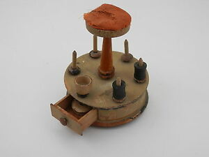 Vintage 1920 S Painted Wood Pincushion Spool Holder W Drawer
