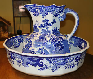 Large Antique Blue Turner Willow Pitcher Wash Bowl Set Mason S Ironstone