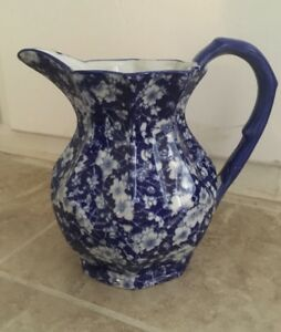 Vintage Blue On White China Victoria Ware Ironstone Porcelain Pitcher