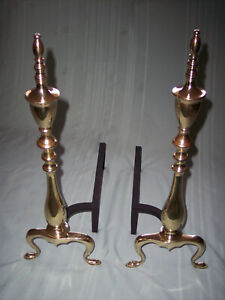 Vintage Solid Brass Polished Fireplace Andirons