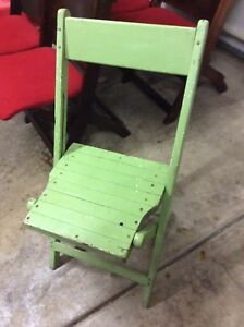 Antique Vintage Green Painted Wood Folding Chair Sturdy Very Good