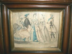 Antique 1880 S Frame With Victorian Print Ladies Costume