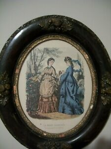 Antique Oval Frame With Vintage Victorian Print Ladies Costume