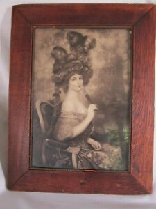 Antique Victorian Sexy Lady Print Framed