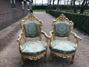Antique Pair Of Two Chairs In Italian Baroque Rococo Style