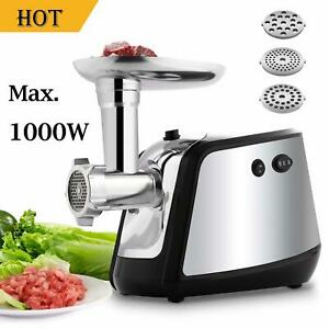 Electric Meat Grinder Mincer W grinding Plates Sausage Stuffing Tubes Stainless