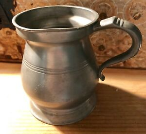 Antique Pewter 1 2 Pint Tankard Tavern Mug