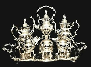 Impressive Birmingham Silver Co Full 7 Piece Silverplate Coffee And Tea Service