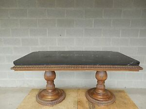 Vintage Neoclassical Double Pedestal Marble Top Entry Table 64w X 36d