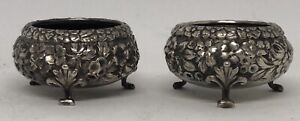 Pair 2 Antique Baltimore Sterling Silver Co Sterling Repouss Silver Salt Dips
