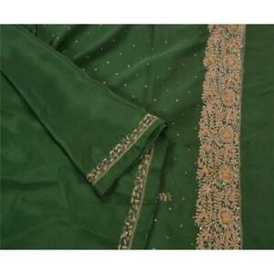 Tcw Vintage Cultural Saree Art Silk Hand Beaded Green Fabric Premium Sari