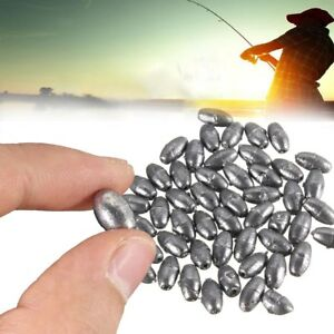 50pcs Olive Shape Pure Lead Sinkers for Saltwater Bass Fishing Fishing Tackle