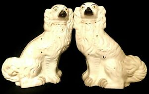 Very Large Matched Pair Of White Gilt Staffordshire Spaniel Dogs C1880s